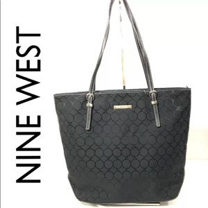 Nine West Black Logo Tall Bag Handbag Purse NWOT